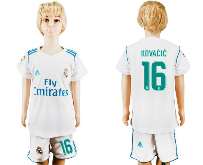 2017-2018 club Real Madrid home kid 16 soccer jersey