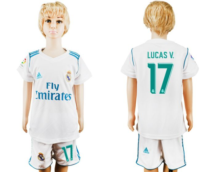 2017-2018 club Real Madrid home kid 17 soccer jersey