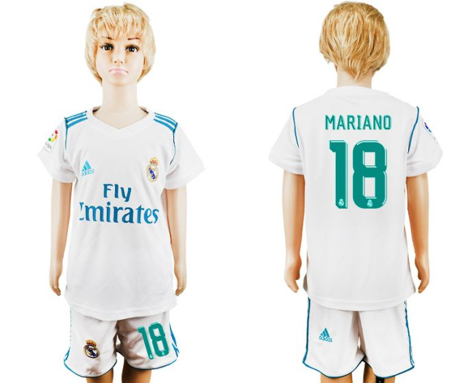 2017-2018 club Real Madrid home kid 18 soccer jersey