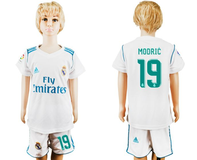 2017-2018 club Real Madrid home kid 19 soccer jersey