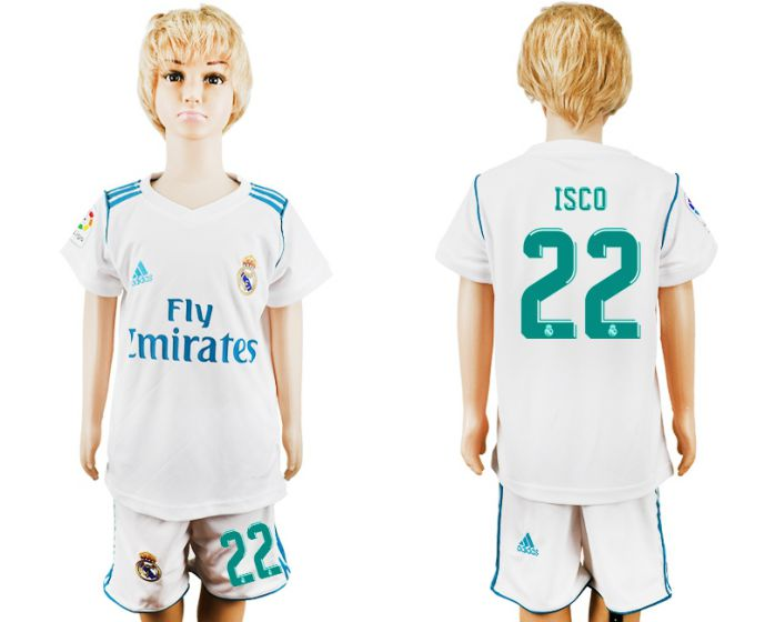 2017-2018 club Real Madrid home kid 22 soccer jersey