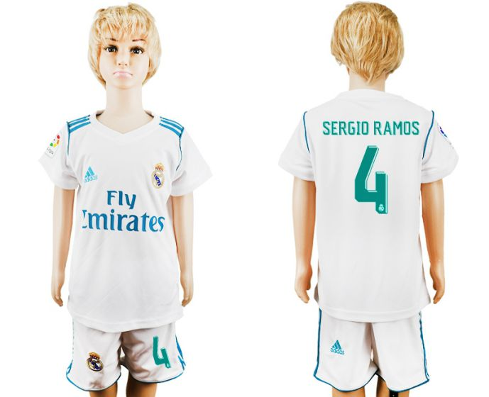2017-2018 club Real Madrid home kid 4 soccer jersey
