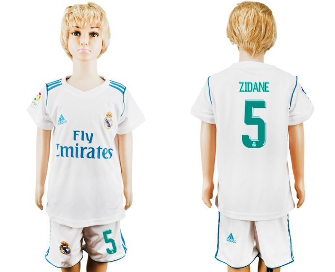 2017-2018 club Real Madrid home kid 5 white soccer jersey