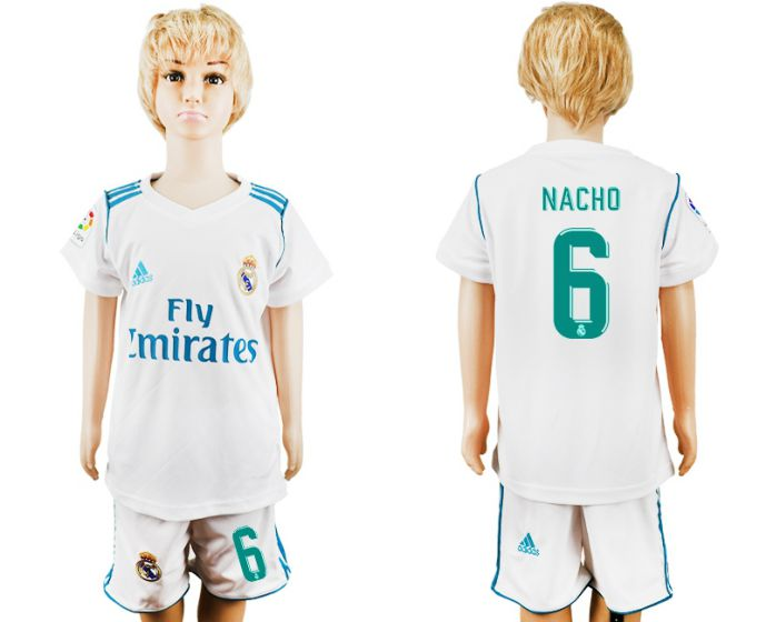 2017-2018 club Real Madrid home kid 6 Nacho soccer jersey