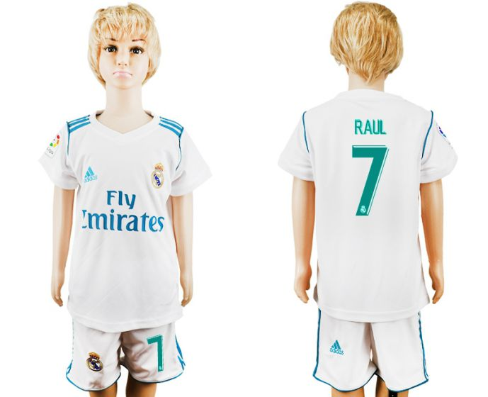 2017-2018 club Real Madrid home kid 7 Raul soccer jersey