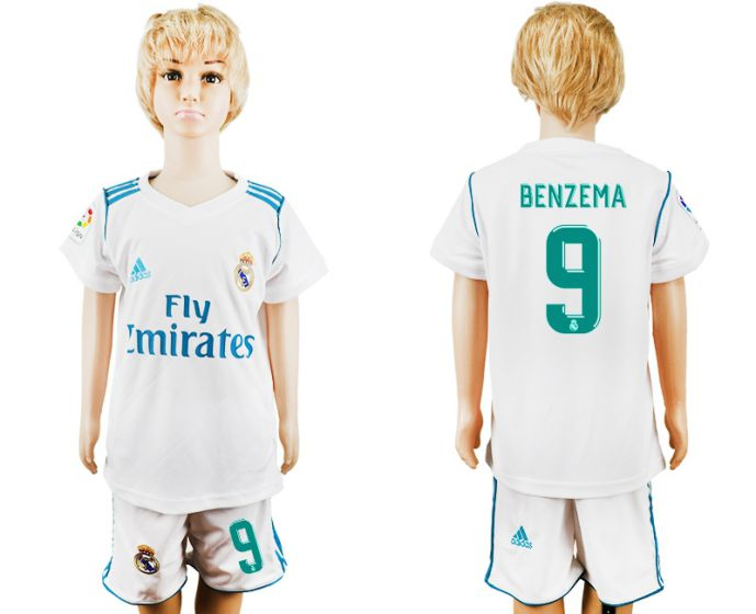 2017-2018 club Real Madrid home kid 9 soccer jersey
