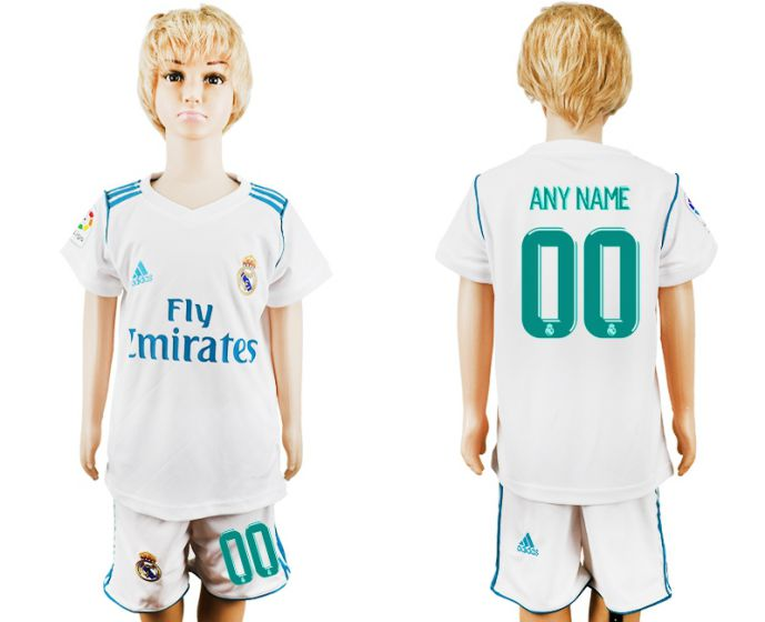 2017-2018 club Real Madrid home kid customized soccer jersey