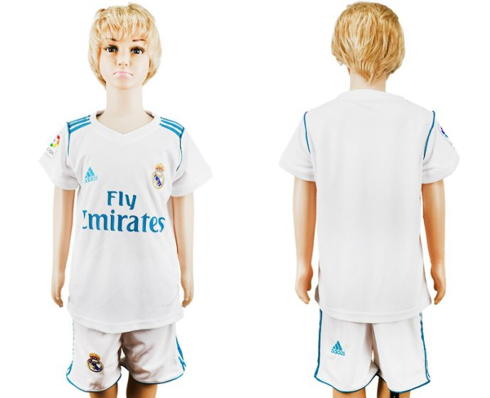 2017-2018 club Real Madrid home kid soccer jersey