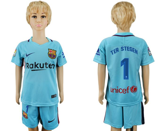 2017-2018 club barcelona aeay enfants 1 maillot de football