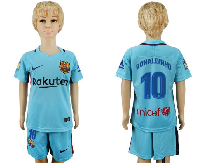 2017-2018 club barcelona aeay enfants 10 bleu football maillot