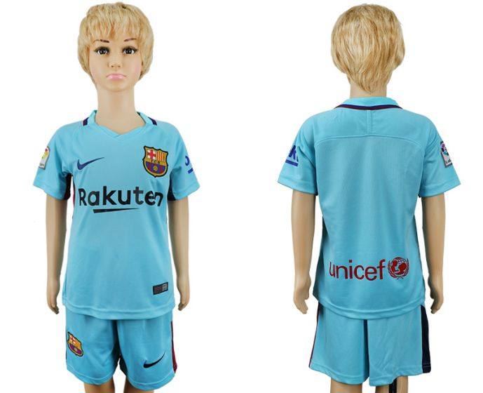 2017-2018 club barcelona aeay enfants blanc bleu maillot de football