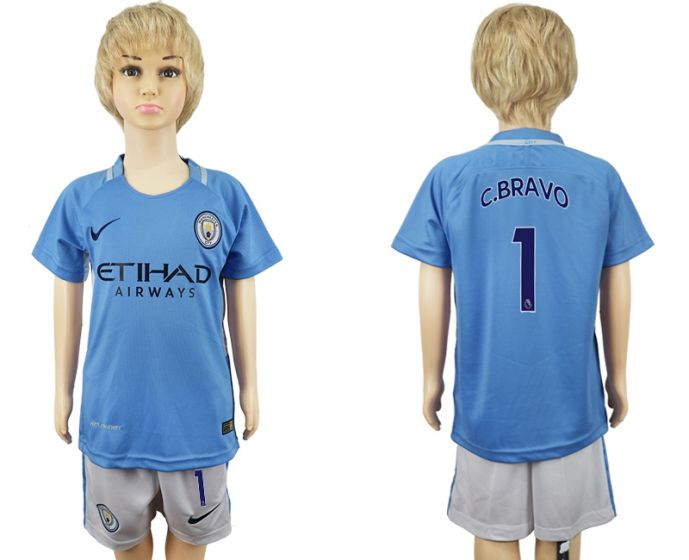 2017-2018 club manchester city home kids 1 soccer jersey