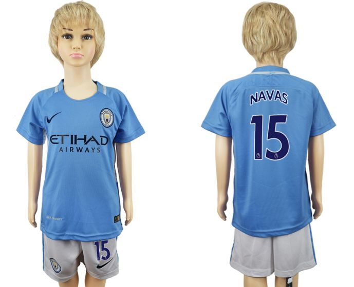 2017-2018 club manchester city home kids 15 soccer jersey