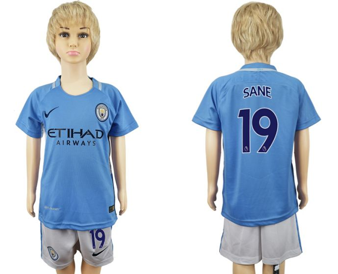 2017-2018 club manchester city home kids 19 soccer jersey