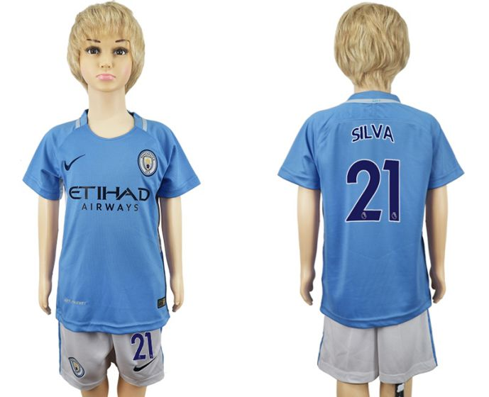 2017-2018 club manchester city home kids 21 soccer jersey