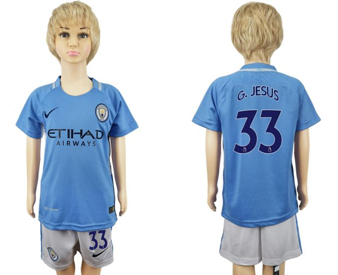 2017-2018 club manchester city home kids 33 soccer jersey
