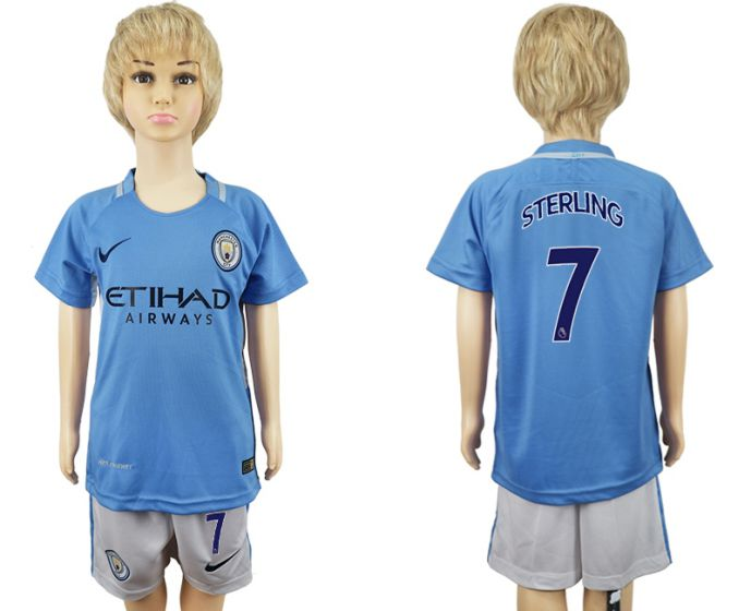 2017-2018 club manchester city home kids 7 soccer jersey