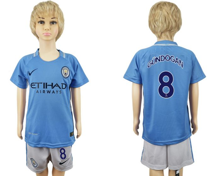 2017-2018 club manchester city home kids 8 soccer jersey