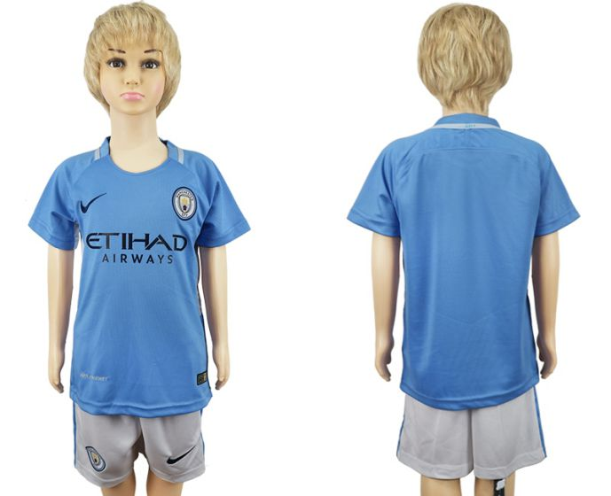 2017-2018 club manchester city home kids blank soccer jersey