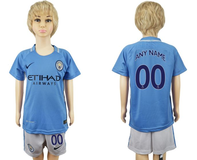 2017-2018 club manchester city home kids customized soccer jersey