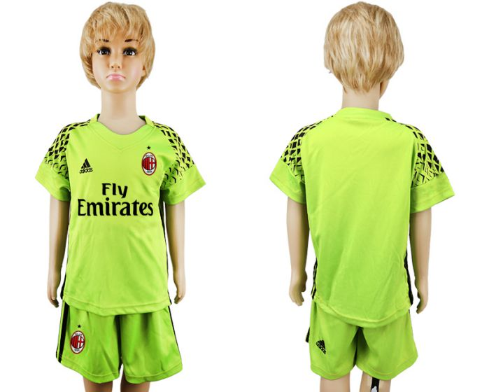 2017-2018 club youth AC milan fluorescent green goalkeeper kids soccer jersey