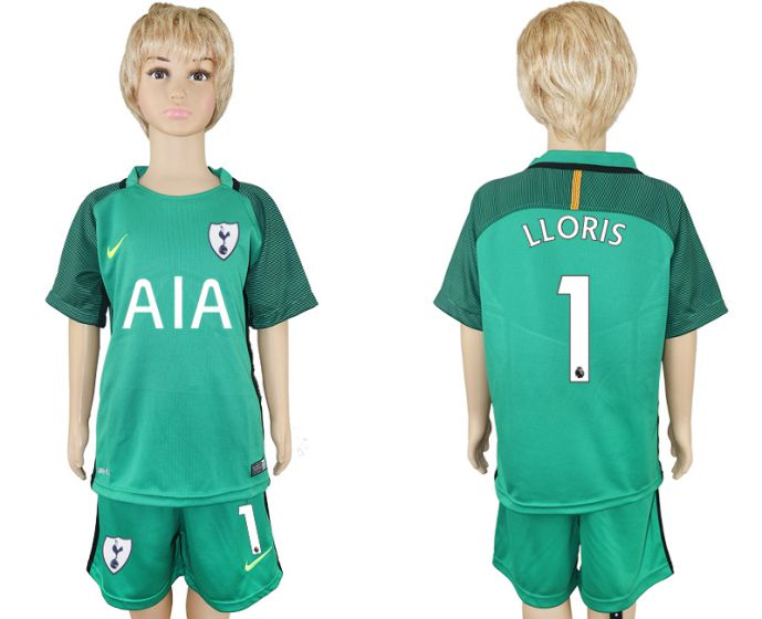 2017-2018 club youth Tottenham Hotspur green goalkeeper 1 soccer jersey