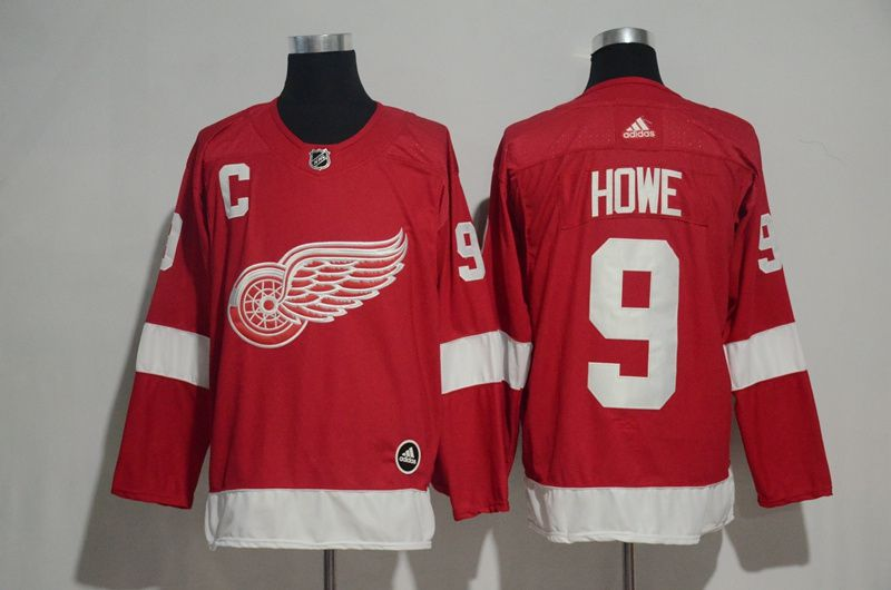 Men 2017 NHL Detroit Red Wings 9 Howe red Adidas jersey