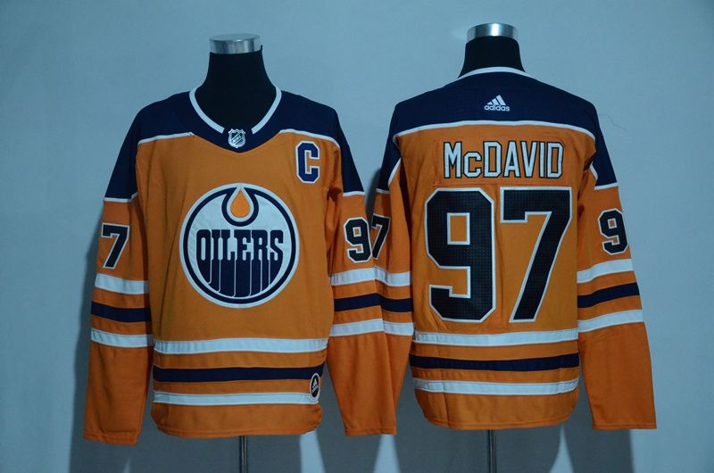 Men 2017 NHL Edmonton Oilers 97 McDavid orange Adidas jersey