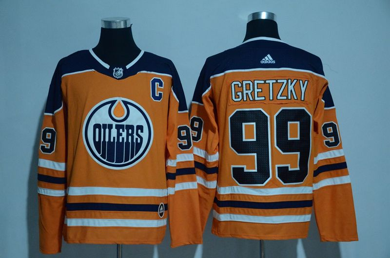 Men 2017 NHL Edmonton Oilers 99 Gretzky orange Adidas jersey