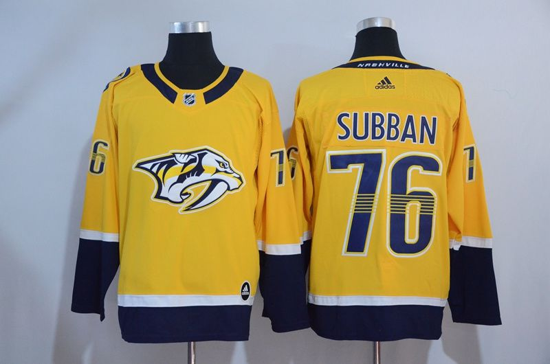 Men 2017 NHL Nashville Predators 76 Subban Yellow Adidas Jerseys