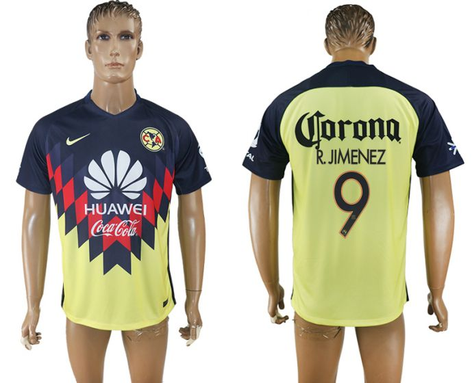 Men 2017-2018 Club America home aaa version 9 yellow soccer jersey