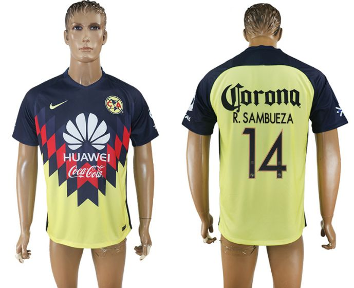 Men 2017-2018 Club America home aaa version 14 yellow soccer jersey