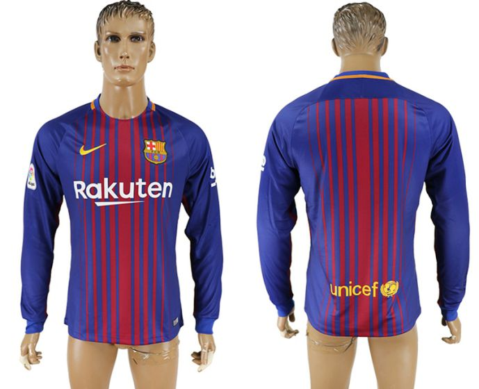 Men 2017-2018 Club Barcelona home long sleeve AAA soccer jersey