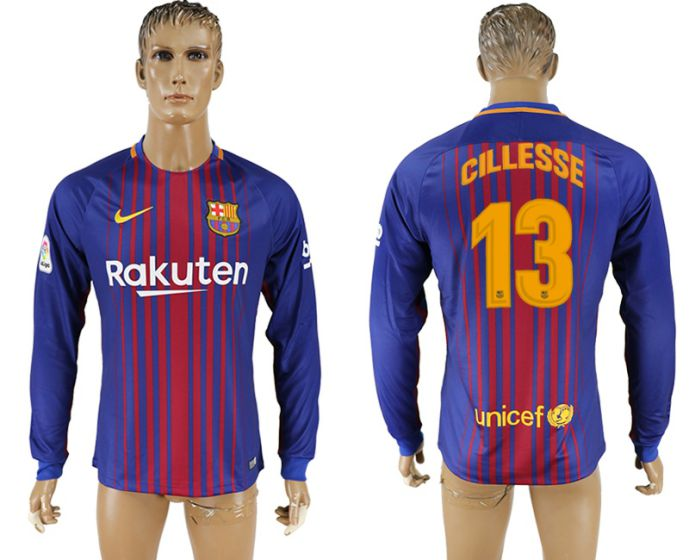 Men 2017-2018 Club Barcelona home long sleeve AAA version 13 soccer jersey