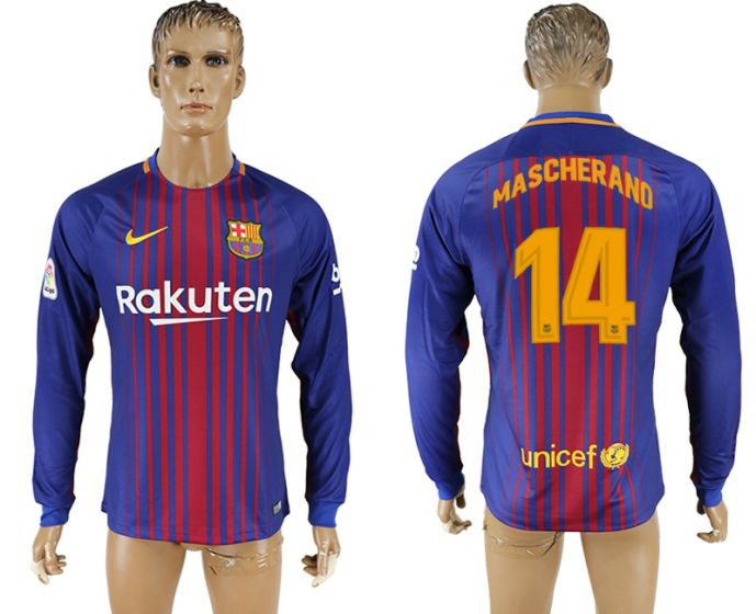 Men 2017-2018 Club Barcelona home long sleeve AAA version 14 soccer jersey