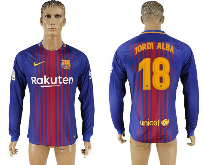 Men 2017-2018 Club Barcelona home long sleeve AAA version 18 soccer jersey