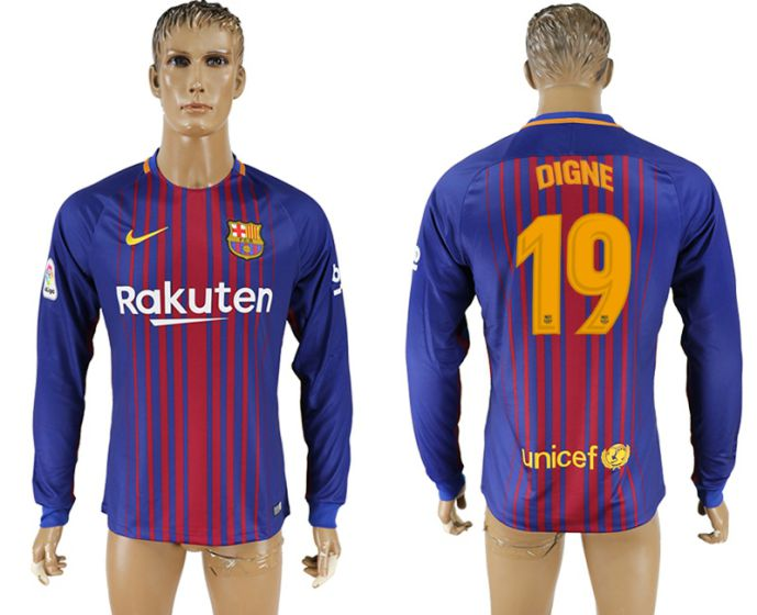 Men 2017-2018 Club Barcelona home long sleeve AAA version 19 soccer jersey