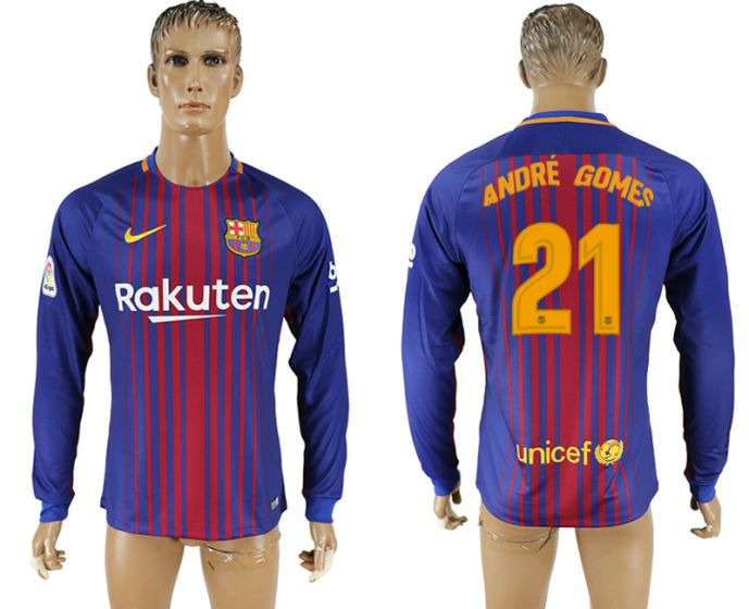 Men 2017-2018 Club Barcelona home long sleeve AAA version 21 soccer jersey