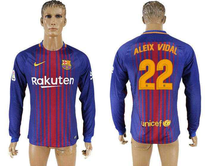 Men 2017-2018 Club Barcelona home long sleeve AAA version 22 soccer jersey