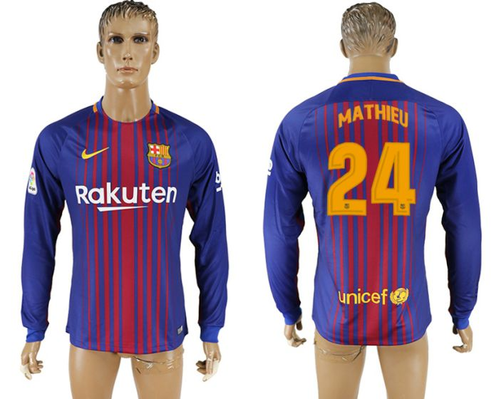 Men 2017-2018 Club Barcelona home long sleeve AAA version 24 soccer jersey