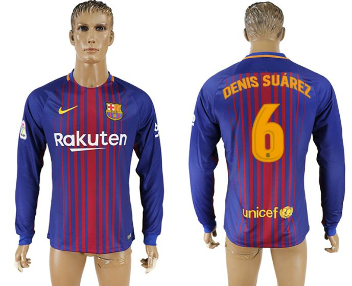 Men 2017-2018 Club Barcelona home long sleeve AAA version 6 soccer jersey