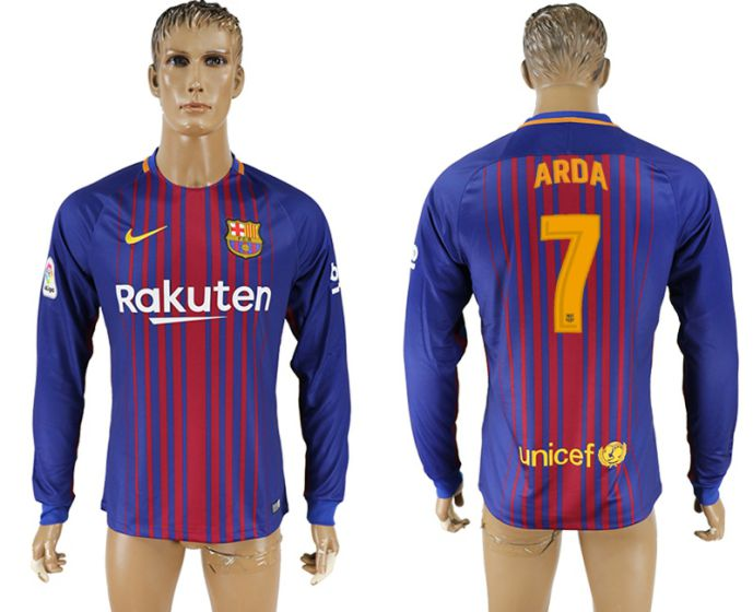 Men 2017-2018 Club Barcelona home long sleeve AAA version 7 soccer jersey