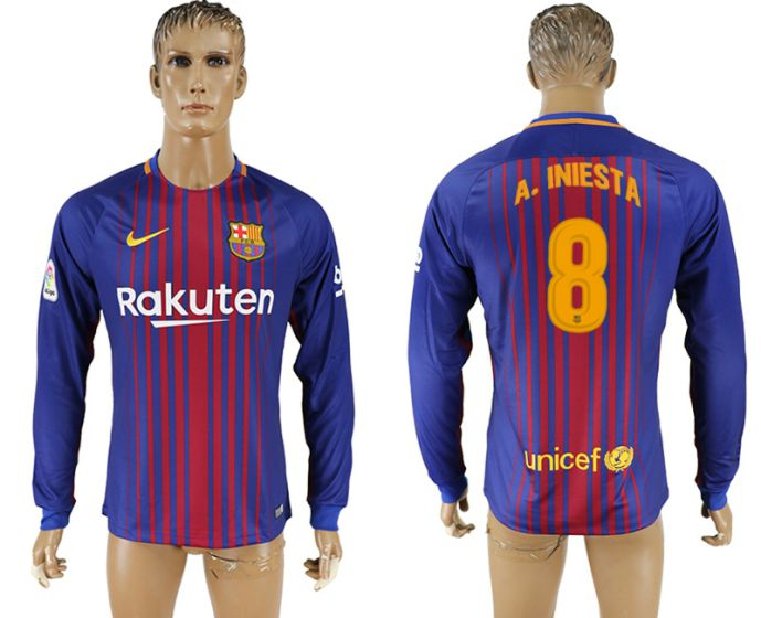 Men 2017-2018 Club Barcelona home long sleeve AAA version 8 soccer jersey