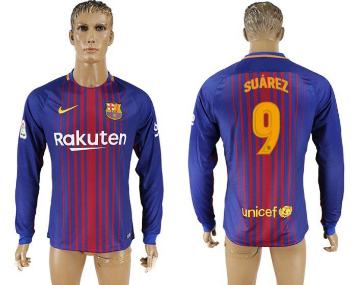 Men 2017-2018 Club Barcelona home long sleeve AAA version 9 soccer jersey