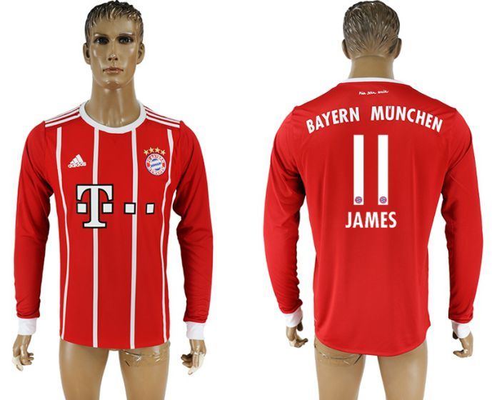 Men 2017-2018 Club Bayern Munich home long sleeve aaa version 11 soccer jersey