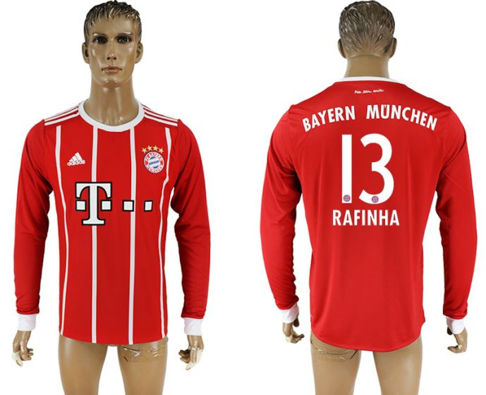 Men 2017-2018 Club Bayern Munich home long sleeve aaa version 13 soccer jersey