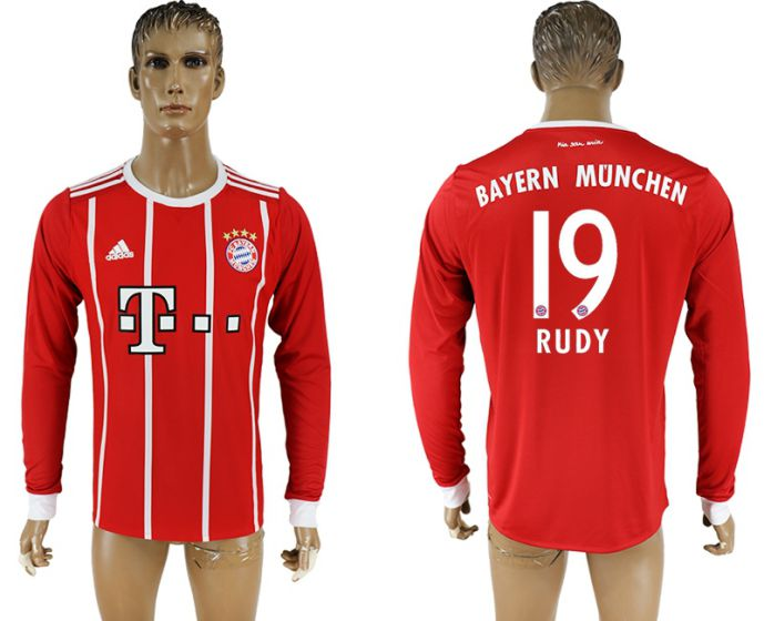 Men 2017-2018 Club Bayern Munich home long sleeve aaa version 19 soccer jersey