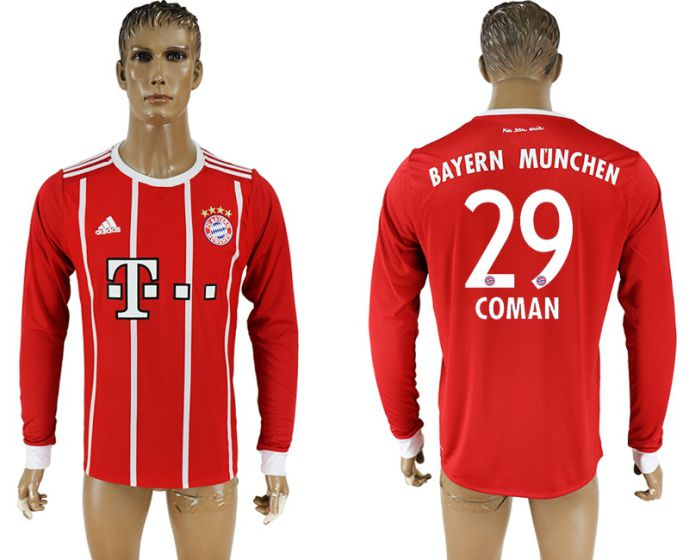 Men 2017-2018 Club Bayern Munich home long sleeve aaa version 29 soccer jersey