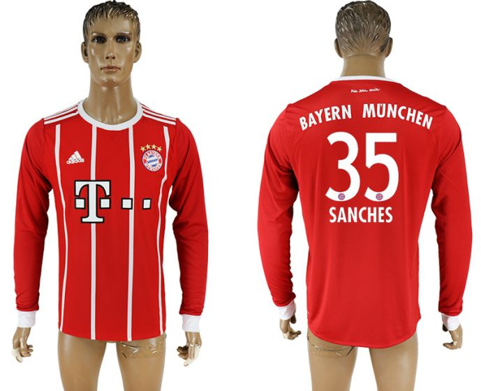 Men 2017-2018 Club Bayern Munich home long sleeve aaa version 35 soccer jersey