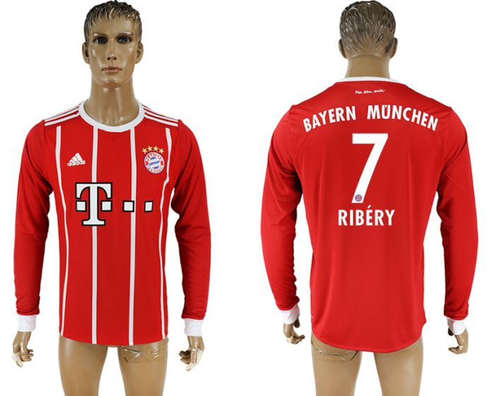 Men 2017-2018 Club Bayern Munich home long sleeve aaa version 7 soccer jersey